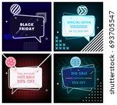neon set of trendy abstract... | Shutterstock .eps vector #693705547