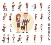 man and female business people... | Shutterstock .eps vector #693705793
