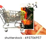 shopping online by smartphone... | Shutterstock . vector #693706957