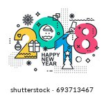 2018 happy new year trendy card ... | Shutterstock .eps vector #693713467
