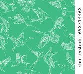 single line birds drawing... | Shutterstock .eps vector #693714463