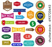 vector vintage sale label set... | Shutterstock .eps vector #693720643