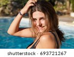 portrait of young brunette... | Shutterstock . vector #693721267