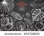 vietnamese food top view frame. ... | Shutterstock .eps vector #693728833