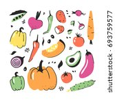 hand drawn set of vegetable.... | Shutterstock .eps vector #693759577