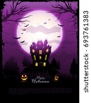 purple halloween haunted house...   Shutterstock .eps vector #693761383