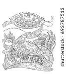sea turtle doodle style... | Shutterstock .eps vector #693787513