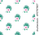 hibiscus flowers and  palm...   Shutterstock .eps vector #693787807