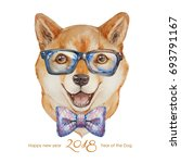 dog. 2018 year of dog. happy... | Shutterstock . vector #693791167