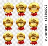 golden certified rosettes  gold ... | Shutterstock . vector #693800023