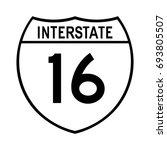 interstate highway 16 road sign.... | Shutterstock .eps vector #693805507