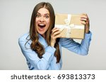 happy business woman holding... | Shutterstock . vector #693813373