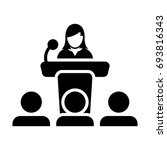 podium icon with microphone  ... | Shutterstock .eps vector #693816343