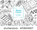 italian food top view. a set of ... | Shutterstock .eps vector #693834007