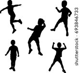 silhouettes of boy dancing... | Shutterstock .eps vector #693846733