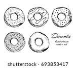 hand drawn tasty donuts....   Shutterstock .eps vector #693853417