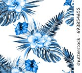blue tropical floral seamless ... | Shutterstock . vector #693854653