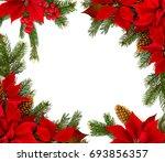 christmas decoration. frame of...   Shutterstock . vector #693856357