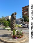 Small photo of Shkoder, Albania - July 15, 2017: Statue of Mother Teresa in the center of Shokder. Mother Teresa is adored in Albania, she had Albanian parents and was born in Skopje, now Macedonia. Europe.