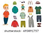 flat baby boy fashion icon set... | Shutterstock .eps vector #693891757