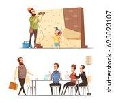 fatherhood 2 retro cartoon work ... | Shutterstock .eps vector #693893107