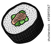 Salmon Sushi Roll Line Art...