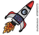 space rocket line art vector...