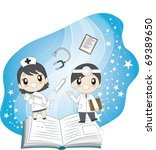 reading book together | Shutterstock .eps vector #69389650