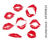 realistic lip mark in jpg and... | Shutterstock .eps vector #69390814