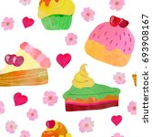 sweets  flowers and hearts.... | Shutterstock .eps vector #693908167
