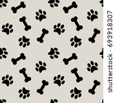 seamless pattern with dog bone  ... | Shutterstock .eps vector #693918307