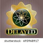 gold badge or emblem with atom ... | Shutterstock .eps vector #693968917