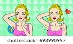 pop of cartoon woman do... | Shutterstock . vector #693990997