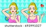 pop of cartoon woman do... | Shutterstock . vector #693991027