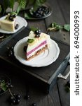 a modern mousse cake with a... | Shutterstock . vector #694000993