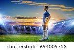 little soccer champion. mixed... | Shutterstock . vector #694009753