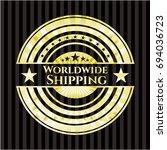 worldwide shipping gold emblem | Shutterstock .eps vector #694036723