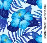 summer hawaiian seamless... | Shutterstock .eps vector #694046503