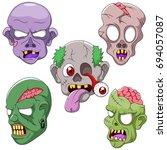 cartoon zombie head. | Shutterstock . vector #694057087