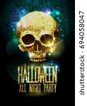 fashion halloween party poster... | Shutterstock . vector #694058047