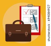 business bag and papers. job... | Shutterstock .eps vector #694084927