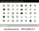 black and color outline icons... | Shutterstock .eps vector #694108117
