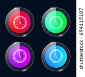 clock four color glass button...