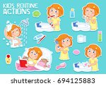 daily routine set   tooth... | Shutterstock . vector #694125883
