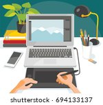 illustration with desk of... | Shutterstock .eps vector #694133137