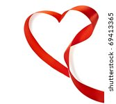 red heart ribbon isolated on... | Shutterstock . vector #69413365