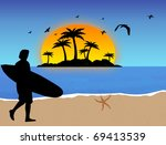 Stock vector surfer on tropical beach background vector illustration 69413539