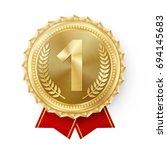 Gold Medal Vector. Golden 1st...