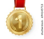 gold medal vector. best first... | Shutterstock .eps vector #694145713