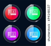 matches four color glass button ...